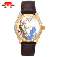 Watch enamel watch silver filigree enamel high quality watch crocodile skin belt  watch