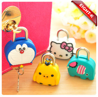 eight-k Creative fashion cute padlock silicone cartoon doll mini metal lock
