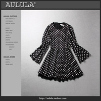 Fashion aulula 2013 women's vintage polka dot print flare sleeve slim one-piece dress