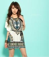 New 2014 fashion summer Women clothing novelty casual silk dress plus size print vintage women's Bohemian dresses