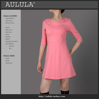 Aulula 2013 autumn fashion women's brief stretch cotton slim half sleeve one-piece dress pink