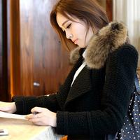 2013 women's woolen outerwear winter woolen overcoat ol medium-long raccoon fur woolen outerwear