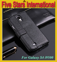 Luxury Leather Wallet Case Cover For Samsung Galaxy SIV S4 I9500 Free Shipping Wholesales 7 color avild