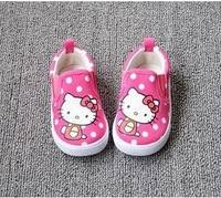 [LOONGBOB]New children shoes baby girl's youths spring autumn summer cartoon Hello Kitty canvas walking shoes for baby of 1-4Y