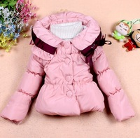 child girls wadded jacket collar neck bow japanese style wadded coats  fashion kids wadded outwear children's clothing