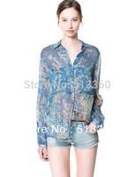 New Fashion Ladies' elegant floral print chiffion blouse with pocket casual vintage shirt slim quality brand Free Shipping