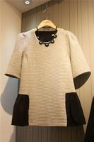 2013 autumn women's plus size Emboss plaid elegant half sleeve one-piece dress basic skirt