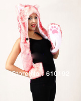 Free Shipping Ladies Fashion Faux Fur Pink husky  Wool Hat Warm Winter Animal Cute Cap Bear Claws Hat Scarf and Glove Together