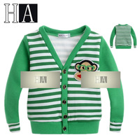 Next Childrens Clothing Autumn Spring Baby Boys Girls Green Striped Casual Cardigans Kids V-Neck Handsome Long Sleeve Outerwear