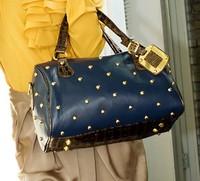 Hot Sale 2013 New Fashion Designer Handbags Woman's Brown PU Leather Brass Grommet Bag Zipper Totes Women Messenger Bags