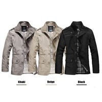 Free Shipping Wholesale 2014 New Men's Slim Trench Coat Jacket Overcoat Outerwear Warm Autumn Winter N102 FY