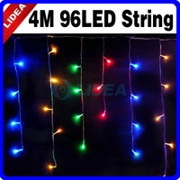 New 2014 Hot 4M 110V/220V 96 LED Colorful Icicle Christmas XMAS Garden String Fairy Curtain of  Lights CN C-14