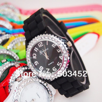 The Hottest Seller In USA,Silicone Rhinestone Lover Quartz Watch,1000pcs/lot,15Colors For Option,DHL Free Shipping To Usa/Europe