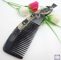 Wholesale - Natural Small/Pocket Size Toothed Comb For Hair Care Simple Buffalo OX Horn Comb Gift BLACK HORN 20x5.5cm NJ710200