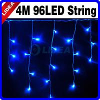 4M 110V/220V 96 LED Blue Icicle Christmas Garden Fairy String XMAS Lights CN C-15