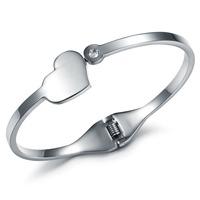 Silver Stainless Steel Women Cuff Bangle Charm Heart Design CZ Diamond Inlaid Bracelets & Bangles Jewelry  650