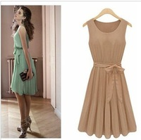 2013 spring and summer women's vintage plus size Round Neck Sleeveless chiffon dress one-piece dress