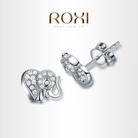 ROXI  Exquisite elephant Earrings platinum plated with CZ diamonds,fashion Environmental Micro-Inserted Jewelry,102010348