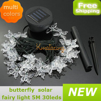 New Led Butterfly Solar Light Fairy Party Wedding Halloween Multicolor Christmas Lamp String 5M Xmas Garden Colorful Powered