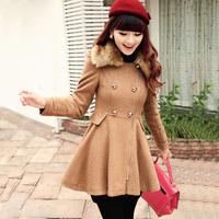 2013 winter fur collar double breasted medium-long slim woolen outerwear woolen overcoat women's