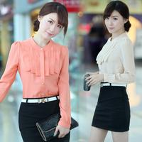 Autumn long-sleeve chiffon shirt top women's slim shirt basic shirt solid color basic shirt