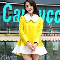 2013 autumn and winter cashmere outerwear female slim fur collar cloak woolen overcoat fashion color block decoration woolen