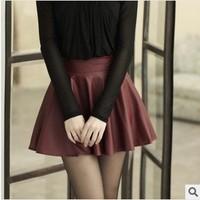 POP Style Autumn Winter Imitation Sheepskin Pleated Skirt  Wild Half-length Leather Skirt 2 Colors