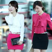 Autumn slim women's work wear long-sleeve colorant match women's chiffon shirt top