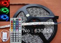 Ip65 waterproof led strip light 5050 smd 300led 5M RGB led rope +44key IR remote controller free shipping