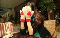 Free Shipping Women's more lovely warm autumn and winter plush love all gloves WL0006