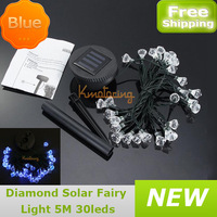 New Diamond Led Solar Fairy Light Xmas String 5M Blue/white/multi-color Halloween Outdoor Garden Christmas Party Wedding Lamp