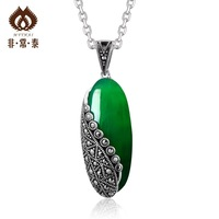 Free shipping Thai silver 925 pure silver pendants vintage green agate pendant fashion handmade silver 11  necklaces & pendants