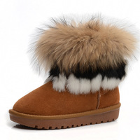 2013 genuine leather women snow boots, women's boots knee-high hairy winter insulation shoes cowhide