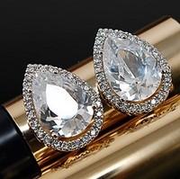 Lady Wedding Rhinestone Water Drop Earrings Crystal Sparkling 100% 925Sterling Silver Stud Female Ear-Rings Women's Jewelry