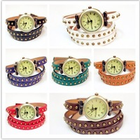 100pcs/lot wholesale Genuine Cow leather fashion Punk Wrap Women watches ROMA header hot sales for gift