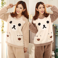 Autumn and winter thickening female sleepwear coral fleece thermal flannel lamb a relaxed bear lounge set