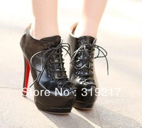 New Arrival Lady Hidden Platform Lace Up Ankle boots Women's super High Heels boot Shoes,Fashion PU Leather Heel Shoe In Black