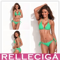 RELLECIGA Solid Green Simply Stunning Triangle Bikini Swimwear with Golden Hardware Rings Bathing Suits Free Shipping