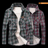 Autumn and winter ! thermal 2013 vintage plaid shirt add velvet men's clothing shirt long-sleeve shirt d416s68