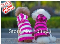 20pcs/lot PETSINN Pet Classic Stripes Hairballs Hooded Sweater Pet Dog Warm Autumn Winter Casual Clothes Apparel, XS/S/M/L/XL