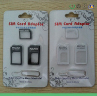 4 in 1 black and white Nano Sim Card Adapter, micro sim adapter + Eject Pin in retail packing for iPhone 5 5g 4 4g 4s; 100sets