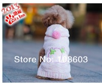 20pcs/lot PETSINN Pet Fresh Strawberries Hairballs Hooded Sweater Pet Dog Warm Autumn Winter Clothes Apparel, XS/S/M/L/XL