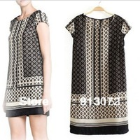 QZ662 New Arrival Ladies' Fashion vintage Geometric print Dresses short sleeve slim party evening brand designer dress