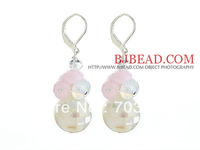 Lovely Girls Earrings Mosaics White Lip Shell Earrings and Pink Crystal Earrings
