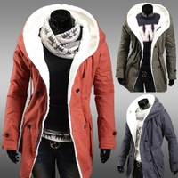 Thickening cotton-padded jacket quilted big yards men's hooded cotton-padded clothes M0008
