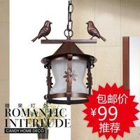 free shipping American rustic wrought iron birdcage pendant light balcony lamp study light lamps
