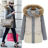 2013 winter fur hood cotton-padded jacket  female fashion t thickening knitted sleeve medium-long parkas