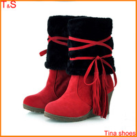 Free shipping women fashion winter boots wedges heel platforms tassel mid calf suede wool fur boot shoes R50