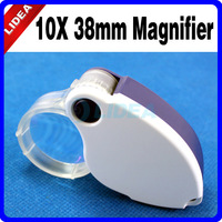 10X 38mm LED + UV Light Pocket Foldable Loupe Jewelers Magnifier HK F-07