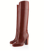 New 2014  women motorcycle boots red bottom boots genuine leather women shoes 13cm high heels pumps